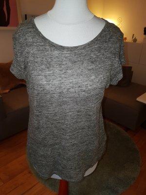 Graues Kurzarmshirt aus Leinen von H&M