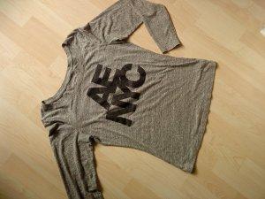 graues Langarmshirt mit Logoprint Größe M