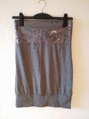 graues Mini Kleid / Long Top mit Pailetten