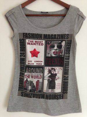Graues Print-Shirt Gr. 36