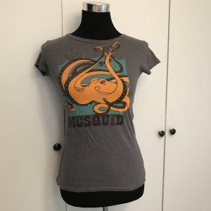 Graues Print Shirt mit Krake