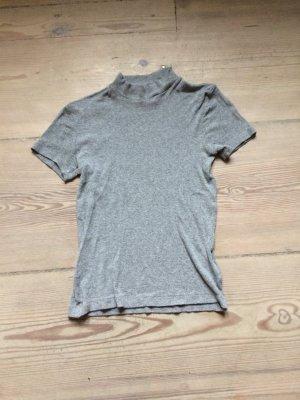 Graues Rippchen T-Shirt mit Stehkragen