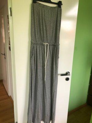 Graues, schickes Bandeau Maxi Kleid aus Baumwolle