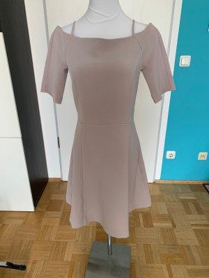 Graues schickes Kleid A-Linie Carmenausschnitt, H&M, 36