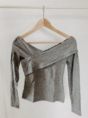 H&M Conscious Collection Boatneck Shirt light grey-grey
