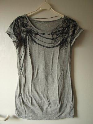 Graues Shirt mit Federdruck