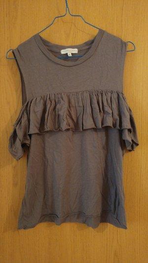 graues Shirt mit schulterfreien Ärmeln