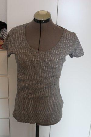 Anne L. T-shirt gris foncé-blanc tissu mixte