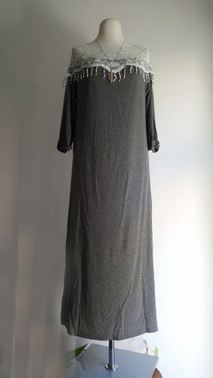 Vestido de tela de sudadera blanco-gris Poliéster