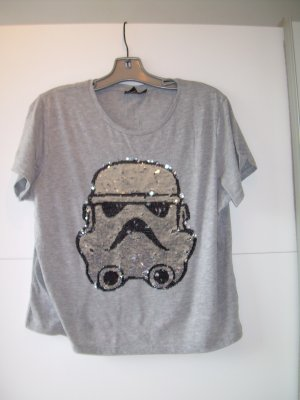 graues Star Wars T-Shirt mit Pailletten Darth Vader Gr. 44