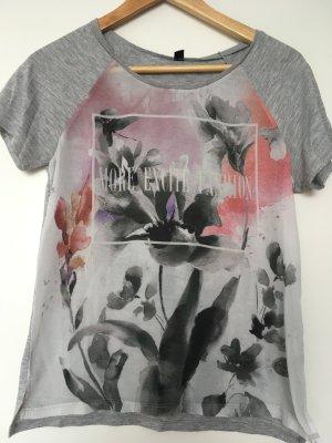 Graues Statement Blumen T-shirt, Größe S