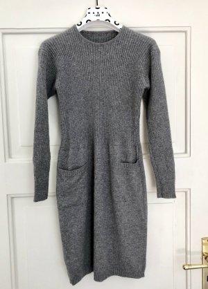 Graues Strickkleid mit Taschen, super weich Kaschmir Wolle