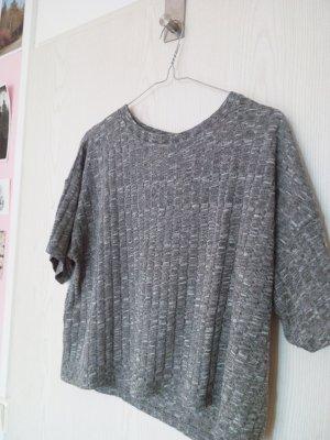 Graues strukturiertes Cropped T- Shirt