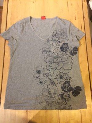 graues T- Shirt , Blumenmuster, Größe 46 / XXL