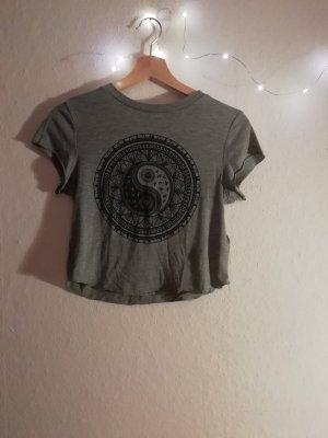 H&M T-shirt court noir-gris viscose