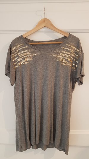 Graues T-Shirt, goldene Pailletten, oversized