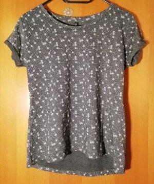 Graues T-Shirt mit Blumen-Muster