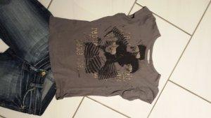 Graues T-shirt mit gold-schwarzem Aufdruck