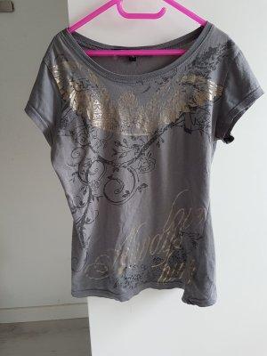 graues T-shirt mit goldenem Aufdruck