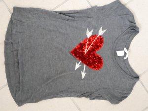 graues T-Shirt mit Pailletten-Herz