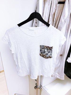 Graues T-Shirt mit Pailletten von ZARA
