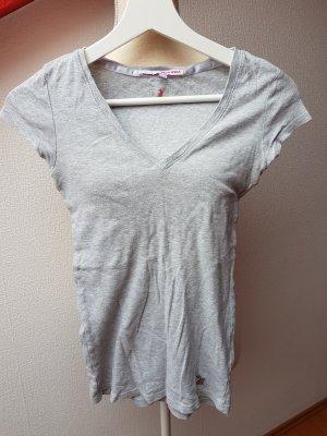 Graues T-Shirt mit V-Ausschnitt; Gr. XS
