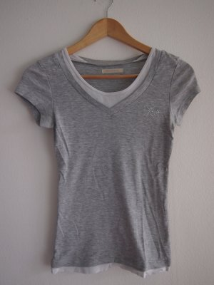 Graues T-Shirt mit weißen Details