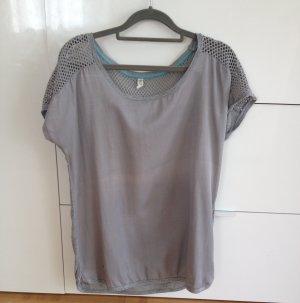graues T-Shirt von edc mit Netzapplikation