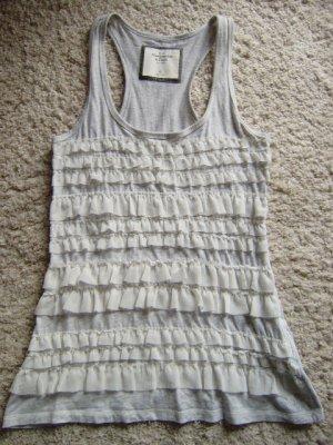 Abercrombie & Fitch Top à volants gris clair-blanc coton