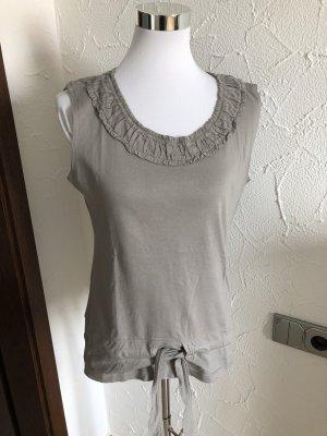 graues Top / Shirt mit Rüschen und Bändel von Chillytime - Gr. 38