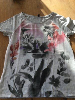 Graues Tshirt mit buntem Aufdruck, Pimkie, XS-S