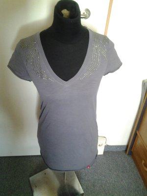 Graues Tshirt mit Glitzersteinchen - V-Ausschnitt - EDC - Größe M