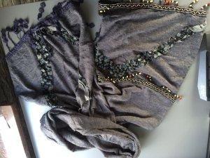 graues Tuch / Halstuch / Schal mit Perlen und Verzierungen - neu