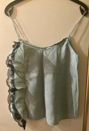 Zara Basic Top di merletto verde-grigio-nero