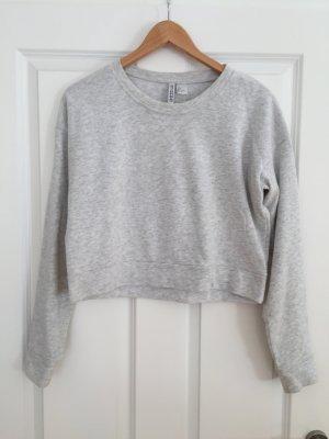 Graumelierter Cropped-Pullover von H&M, Gr. S