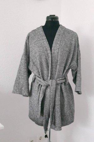 graumelierter Kimonocardigan aus grober Baumwollqualität