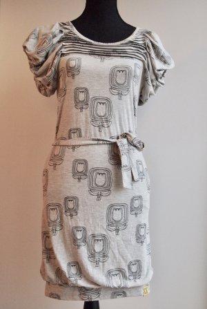 Graumeliertes Kleid mit Tulpenmuster und Puffärmeln