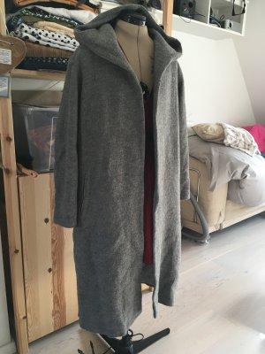 Grauner Wollmix Mantel mit Kaputzen