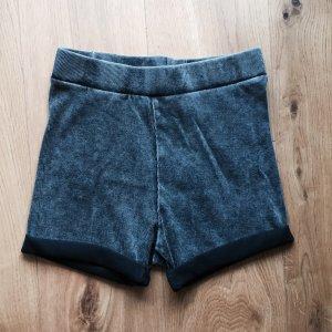 Grauschwarze Feinripp Highwaist Shorts