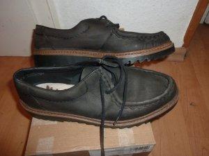 grauschwarze Leder Bootsschuhe Schnürer