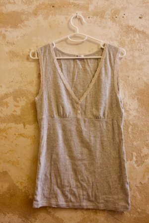 Schiesser Lace Top light grey-white cotton
