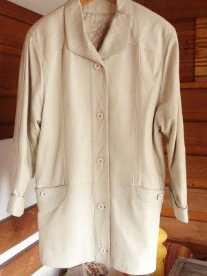 Manteau en cuir blanc cassé-beige clair