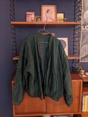 Green vintage 80s silk oversize bomber jacket
