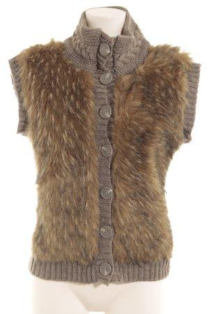 GreenHouse Vest van imitatiebont grijs-beige pluizig