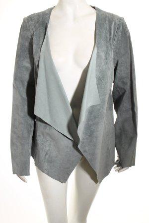 GreenHouse Leder-Blazer graugrün schlichter Stil