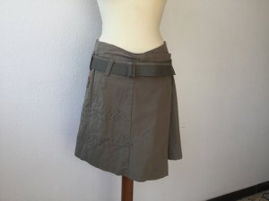 GreenHouse Jupe portefeuille gris vert coton