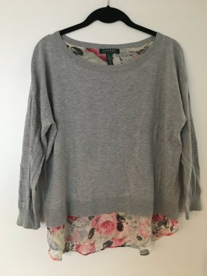 Grey Sweater with Flower Blouse Attached