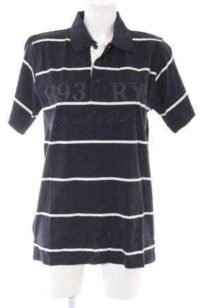Greystone Polo-Shirt weiß-dunkelblau Streifenmuster Casual-Look
