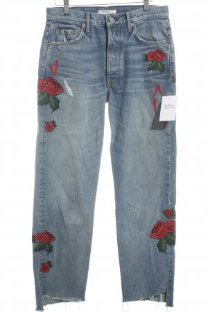 GRLFRND High Waist Jeans Blumenmuster Street-Fashion-Look