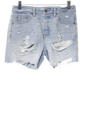 GRLFRND Short en jean bleu pâle-blanc style déchiré